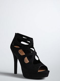 Plus Size Torrid Insider Leather Strappy Heels (Wide Width), BLACK ...