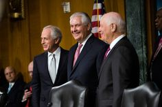 #Senate #confirms Rex #Tillerson as Secretary of State  A majority of #senators, including some Democrats,  voted in favor of the former #Exxon #Mobil #Chief #Executive as the nation's top #diplomat.  ➡ https://www.nytimes.com/2017/02/01/us/politics/rex-tillerson-secretary-of-state-confirmed.html?_r=0  #Photo: Rex W. Tillerson, center, with Senators Bob Corker, left, and Ben Cardin before his confirmation hearing last month. Credit The New York Times  #SecretaryofState #RexTillerson