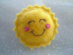 Sun Cute Felt Brooch  Kawaii Pin Accessory by HoobynooWorld, £7.50