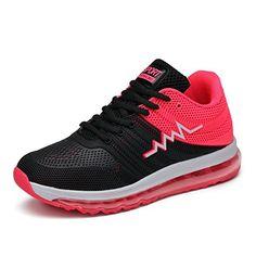 H-Mastery Herren Damen Laufschuhe Sneakers mit Luftpolster Leichtes Casual Atmungsaktives Sportschuh(Schwarz rosa,EU 36) - Sportschuhe für frauen (*Partner-Link)