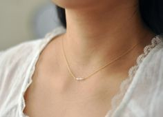 Crystalline  tiny clear beads gold necklace  delicate by edor, $22.00