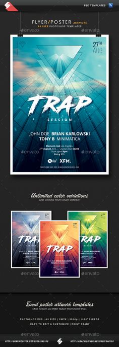 Trap Session - Party Flyer / Poster Template A3 PSD. Download here: https://graphicriver.net/item/trap-session-party-flyer-poster-template-a3/16993478?ref=ksioks