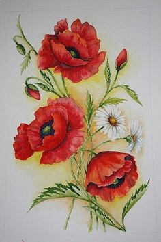 ru / Photo # 77 – Look here and there, poppies … - Malerei Tulip Painting, Oil Painting Flowers, Silk Painting, Poppy Flower Painting, Watercolor Poppies, Red Poppies, Watercolor Paintings, Photo D Art, Arte Floral