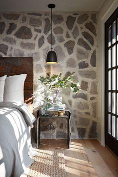 Rock Wall, black door/window(paint it inside) light wood flooring..PERFECT!!!!!