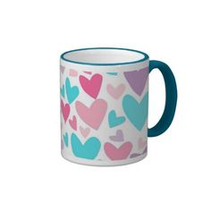 50 % OFF coffee mugs til 11:59pm Pacific tonight!! Use code SUNDAYDEAL72 at checkout  Cute Pink Purple and Blue Hearts Pattern Coffee Mug- my original abstract vector art, pattern & design. This colorful girly mug would be a perfect gift for Valentine's Day, especially for girls and teens! Many size options/styles. Click image to see. www.zazzle.com/abstractpaintings*/