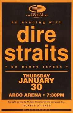 """Dire Straits Poster from Arco Arena on 30 Jan 92: 11"""" x 17"""""""