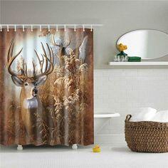 Deer Shower Curtain, Shower Curtain Rings, Bathroom Shower Curtains, Fabric Shower Curtains, Cabin Bathrooms, Country Bathrooms, Deer Fabric, Bath Screens, Buck Deer