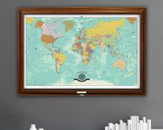 World travel mapia and australia centered map framed and with a wedding map push pin world travel map by thetravelmapstore gumiabroncs Image collections