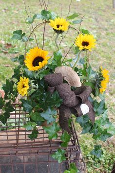 Ivy Basket with Fresh Sunflowers