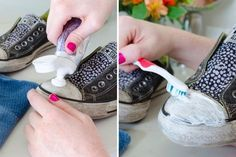 12 Ridiculously Amazing Toothpaste Hacks You've Never Heard Before - Need to clean your converse? Use toothpaste on the rubber part of your shoes to get rid of the dirt and grime. Do It Yourself Organization, Diy Organization, How To Whiten Shoes, Cleaning Hacks, Cleaning Wipes, Makeup Store, Clean Shoes, Homemade Crafts, Diy Crafts
