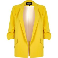 River Island Yellow ruched sleeve blazer ($110) ❤ liked on Polyvore featuring outerwear, jackets, blazers, blazer, coats / jackets, women, yellow, woven jacket, open front blazer and yellow blazer jacket