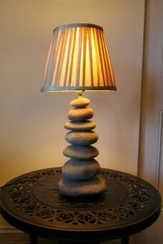 A lamp made from river rock? This makes my heart happy. River Rock Decor, Rock Lamp, Magical Room, Driftwood Crafts, Cool Diy Projects, Pebble Art, Lamp Light, Decorating Your Home, Home Furniture