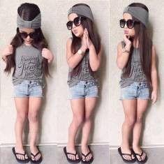 3 Piece Toddler Headband, T-shirt and Jean Shorts