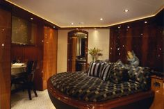 Bedroom of a yacht with contemporary design style.