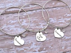 Bridesmaid gift / Maid of honor / flower girl wedding Charm Swarovski crystal or pearl on a Silver adjustable Bangle wedding party gifts