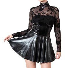 Shirley korte jurk met transparante mesh top met tattoo print zwart - S - Patrice Catanzaro