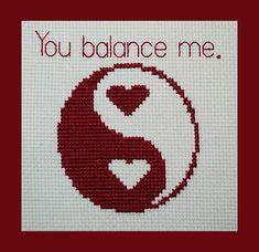 Yin Yang You Balance Me Hearts Cross Stitch by BlueTopazStitchery, $4.00