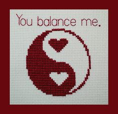 THIS LISTING IS FOR THE PDF PATTERN ONLY, NOT THE FINISHED PRODUCT.    Yin and Yang, with hearts and a sweet little message! Heres a cute little design for Valentines Day, or to make to celebrate a loved one.    Details: The full size of this pattern is 54 x 49 stitches. When stitched on 18 count fabric, the design will fit in a greeting card, or a small 5 x 7 (12.5 x 17.5 cm) frame. It uses only 1 floss color, and contains mainly whole cross stitches, with some back stitch and French knots…