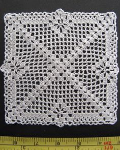 dollhouse miniature small square silk crochet doily, table cover, IGMA artisan…