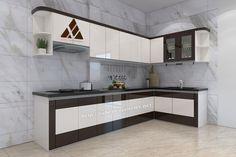 Tủ bếp đẹp chữ L cho khung bê tông nhà anh Thái - Hà Tĩnh