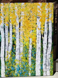 Aspen Birch Trees Original Acrylic Painting on 24 x by VickisArt, $375.00