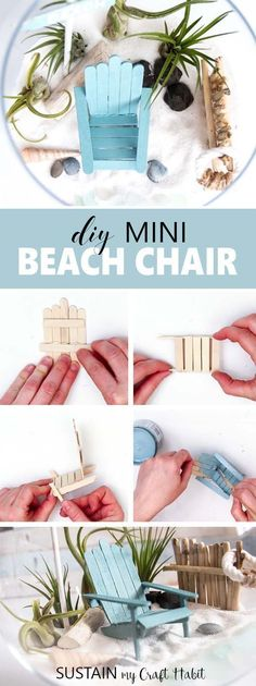 Learn how to make these mini beach chairs. Perfect fairy garden accessory idea. Miniature Adirondack Chair   Popsicle Stick Craft Idea   Mini garden DIY #MiniGarden #AdirondackChair #minigardens #miniaturegardens