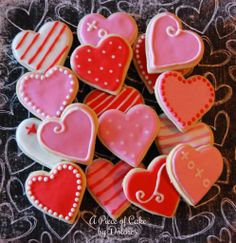 Valentines Day heart cookies by A Piece of Cake  #valentine #cookies