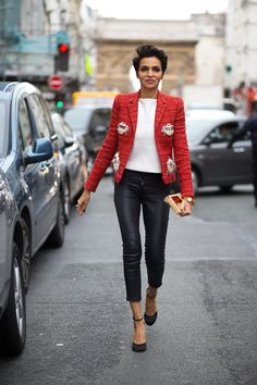 Leather pants can be office-appropriate when styled with a structured blazer or jacket.