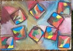 """""""Colorful Square Dance"""" by Charles Peter Watson, 16.60"""" X11.75"""", acrylic paint on wood $50  SOLD"""