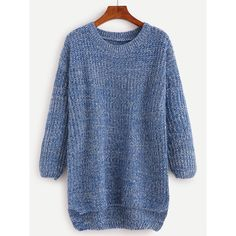 Blue Drop Shoulder High Low Sweater (€13) via Polyvore featuring tops, sweaters, blue, blue sweater, blue pullover, round neck sweater, drop shoulder tops and long sleeve pullover sweater