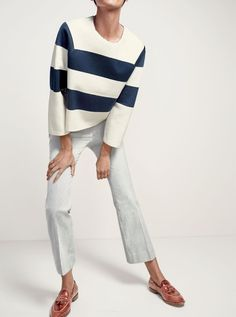 J.Crew women's Collection structured stripe sweater, Teddie sailor pant in skinny stripe and Biella crackled leather loafers.