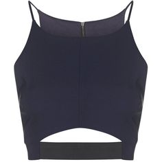 TOPSHOP Elastic Cut-Out Crop Top ($20) ❤ liked on Polyvore featuring tops, crop tops, shirts, tank tops, navy blue, zipper shirt, crop shirts, crop top, navy blue shirt and cut-out tops