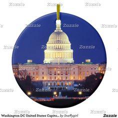 Washington DC United States Capitol at Dusk Ceramic Ornament