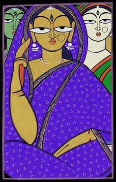 Indian Mothers (Jamini Roy Painting Reproduction on Cloth - Unframed)) Jamini Roy was born in 1887 in the Bankura distict of Bengal. Brought up as an artist under the tutelage of Abanindranath Tagore (elder brother of nobel laureate in literature, Rabindranath Tagore, and himself, a famous artist), he grew up with the same ideas and styles that so many of his contemporary artists had, resulting in a non-uniqueness in his artwork, which was limited to impressionist landscapes and portraits…