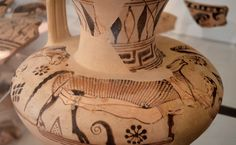 """Archaeological Museum of Aegina, Kolona: """"A protoattic oinochoe, dubbed the Oinochoe of the Rams bears one of the first depictions of Odysseus' his companions fleeing Polyphemos' cave hidden under the. Ancient Beauty, Ancient Art, Ancient History, Mycenaean, Minoan, Greek Pottery, Greek Art, Pottery Making, Prehistory"""