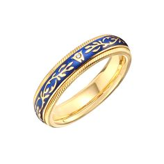 "Wellendorff+18k+Gold+&+Royal+Blue+Enamel+""Fantasy""+Ring"