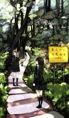 大學の山を描いた #anime #illustration