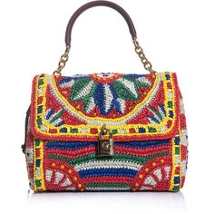 Dolce & Gabbana Flora raffia and beaded bag ($2,444) ❤ liked on Polyvore