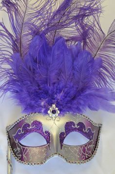Colombina Vanity Fair Venetian Mask in Purple and Silver #masquerade $12.95