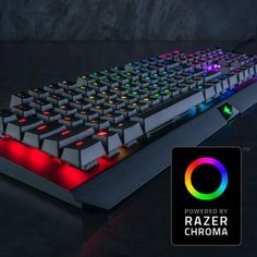 Razer BlackWidow X Chroma - RGB Mechanical Gaming Keyboard with Military Grade Metal Construction  The Razer BlackWidow X gives you the same stellar performance as the Razer BlackWidow, deconstructed into an impressive piece of true craftsmanship. The exposed military grade metal construction is sure to turn heads while giving you durability that will withstand the test of time.