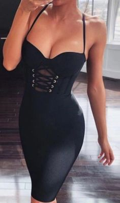 Black corset dress - Lace Up Bustier Dress Black – Black corset dress Black Corset Dress, Black Dress Outfits, Bustier Dress, Sexy Outfits, Bodycon Dress, Black Bustier, Stylish Outfits, Casual Outfits For Girls, Corset Outfit