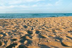Realistic Graphic DOWNLOAD (.ai, .psd) :: http://jquery.re/pinterest-itmid-1007105193i.html ... empty beach ...  beach, blue, chaotic, empty, evening, landscape, nature, nobody, relax, resort, sand, sea, summer, trace, travel, yellow  ... Realistic Photo Graphic Print Obejct Business Web Elements Illustration Design Templates ... DOWNLOAD :: http://jquery.re/pinterest-itmid-1007105193i.html