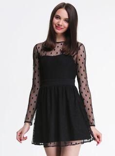 Black Long Sleeve Polka Dot Print Pleated Dress
