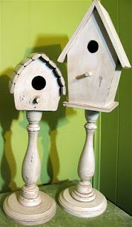 Antiqued Pedestal Birdhouses
