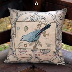 Bird Throw Pillow Vintage Pastoral Style Decorative Pillows 18 Inch