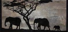 Reclaimed Wood Wall Art Silhouette of African by TKreclaimedART