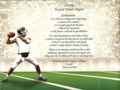 Graduation Personalized Poem Print Gift for a High School Football Player