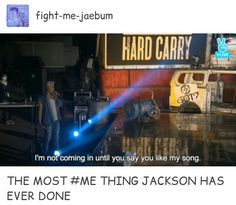 Jackson is never going to let go of the face that JYP hated his song