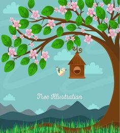 تصميم رائع عصفور على شجرة ملف مفتوح