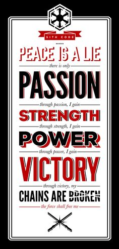 The Sith Code.